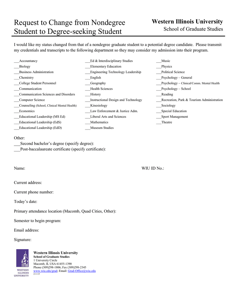 Request To Change From Nondegree Western Illinois University School Of Graduate Studies
