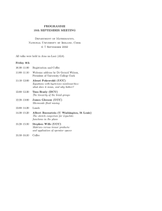 PROGRAMME 15th SEPTEMBER MEETING Department of Mathematics, National University of Ireland, Cork