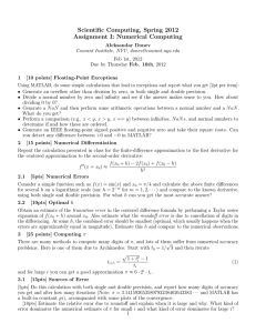 Scientific Computing, Spring 2012 Assignment I: Numerical Computing