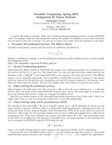 Scientific Computing, Spring 2012 Assignment II: Linear Systems