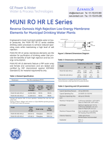 MUNI RO HR LE Series Elements for Municipal Drinking Water Plants