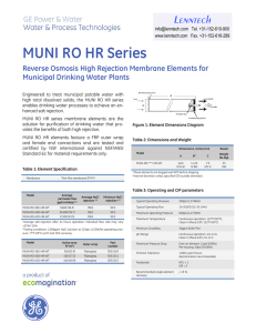 MUNI RO HR Series Reverse Osmosis High Rejection Membrane Elements for