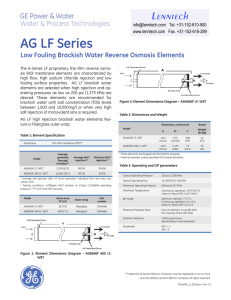 AG LF Series Low Fouling Brackish Water Reverse Osmosis Elements