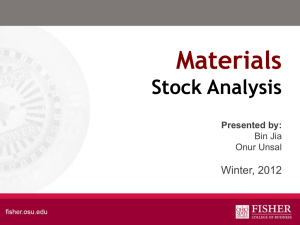 Materials Stock Analysis Winter, 2012 Presented by: