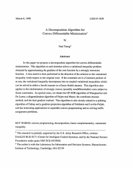 A Decomposition  Algorithm  for Convex Differentiable  Minimization* Abstract
