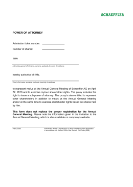 POWER OF ATTORNEY Admission ticket number: Number of shares: