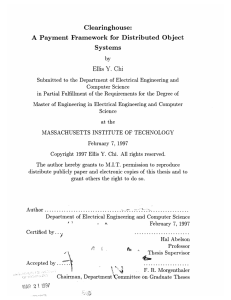 Clearinghouse: A  Payment  Framework  for  Distributed ... Systems Ellis Y.  Chi
