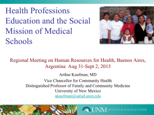 Health Professions Education and the Social Mission of Medical Schools