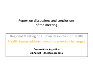 Report on discussions and conclusions of the meeting