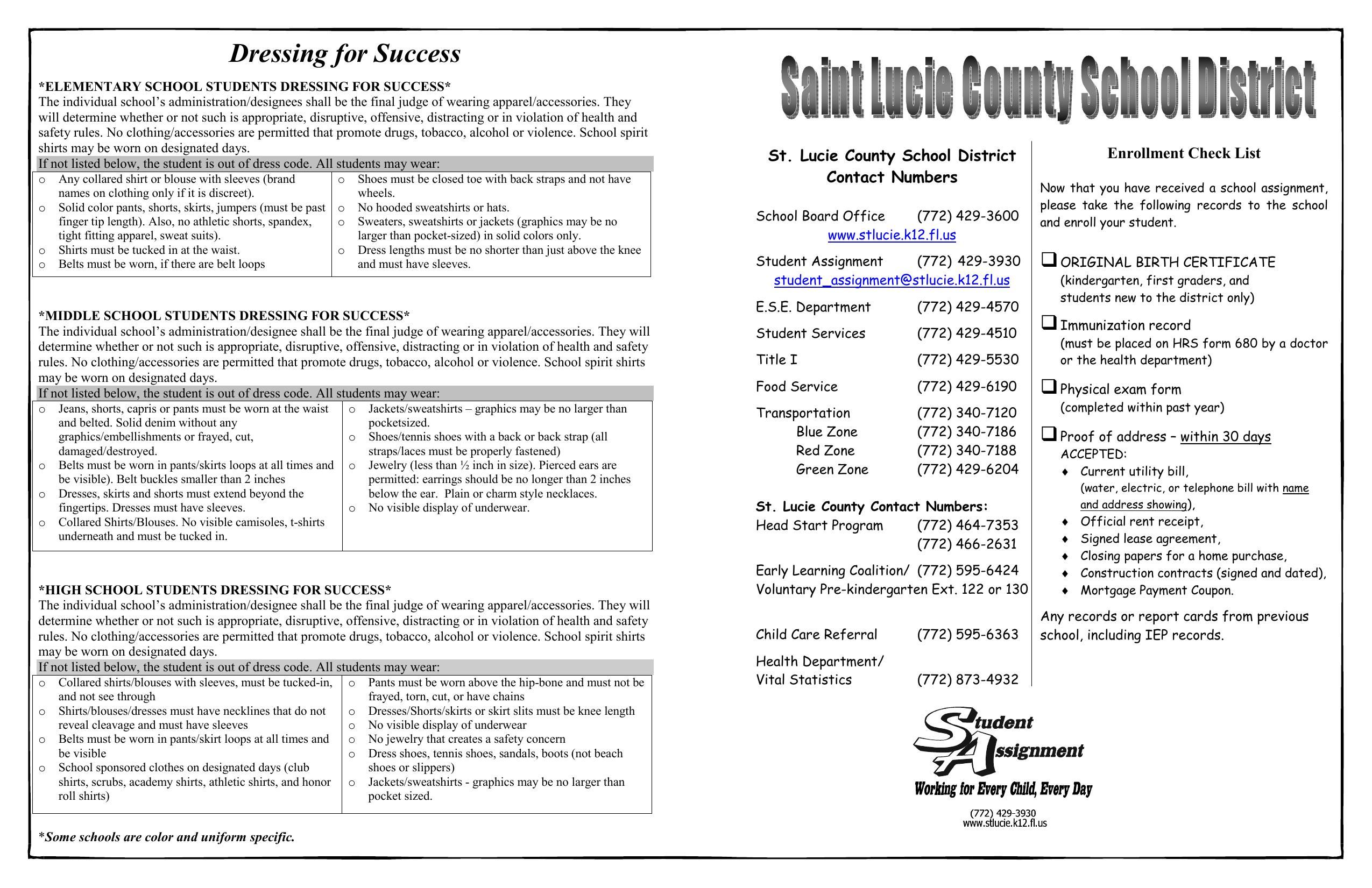 Enrollment Check List St  Lucie County School District