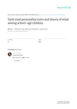 Dark	triad	personality	traits	and	theory	of	mind among	school-age	children 4 179