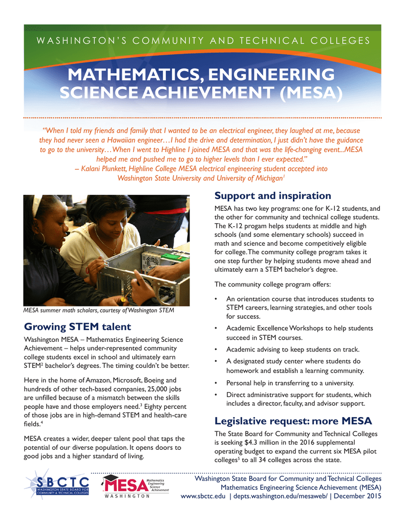 MATHEMATICS, ENGINEERING SCIENCE ACHIEVEMENT (MESA)