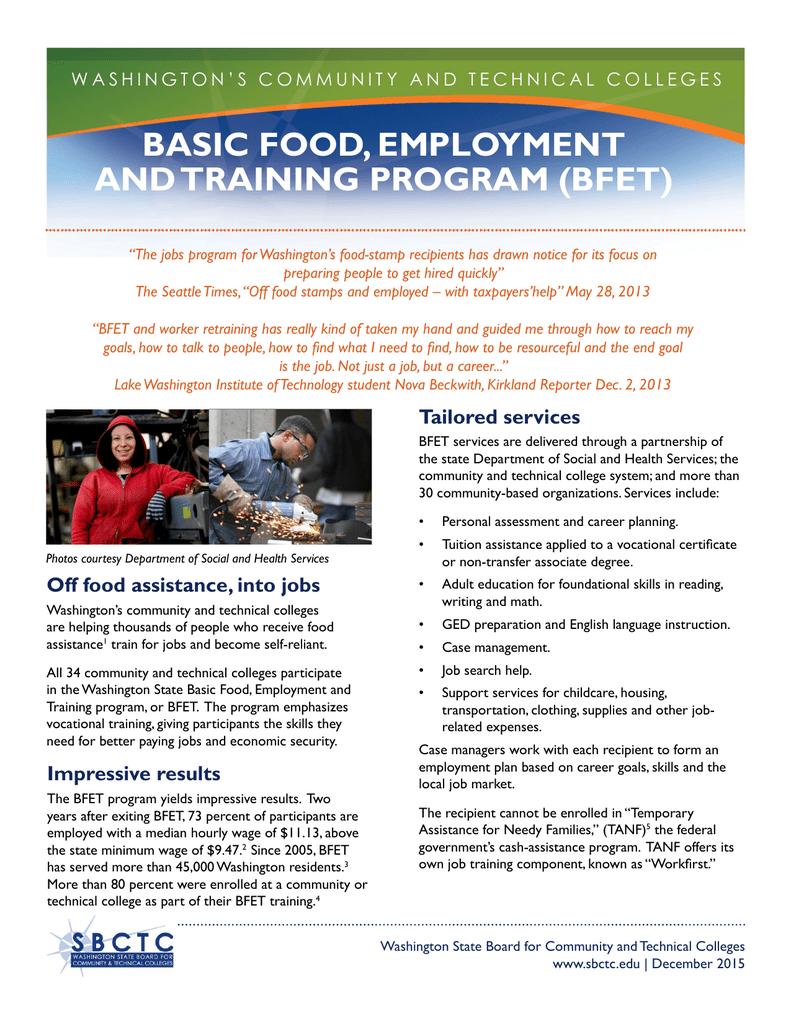 Basic Food Employment And Training Program Bfet