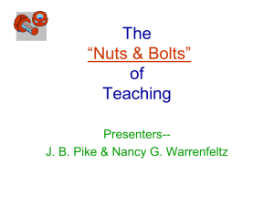 "The of Teaching ""Nuts & Bolts"""