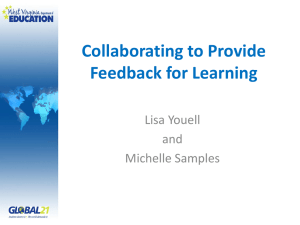 Collaborating to Provide Feedback for Learning Lisa Youell and