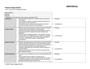 INDIVIDUAL Project Design Rubric