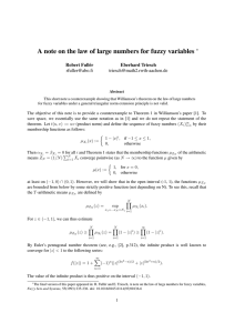 A note on the law of large numbers for fuzzy... ∗ Robert Full´er Eberhard Triesch