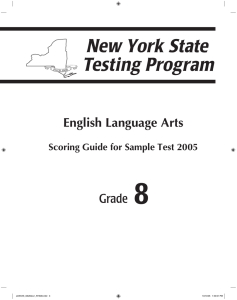 8 English Language Arts Grade Scoring Guide for Sample Test 2005