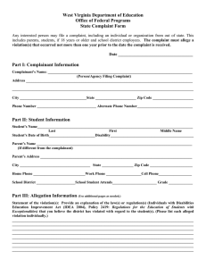 West Virginia Department of Education Office of Federal Programs State Complaint Form