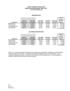 COUNTY BOARDS OF EDUCATION MEDICAID RANDOM MOMENT TIME STUDY FY13 ACTUAL RESULTS