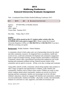 2013 KidStrong Conference Concord University Graduate Assignment