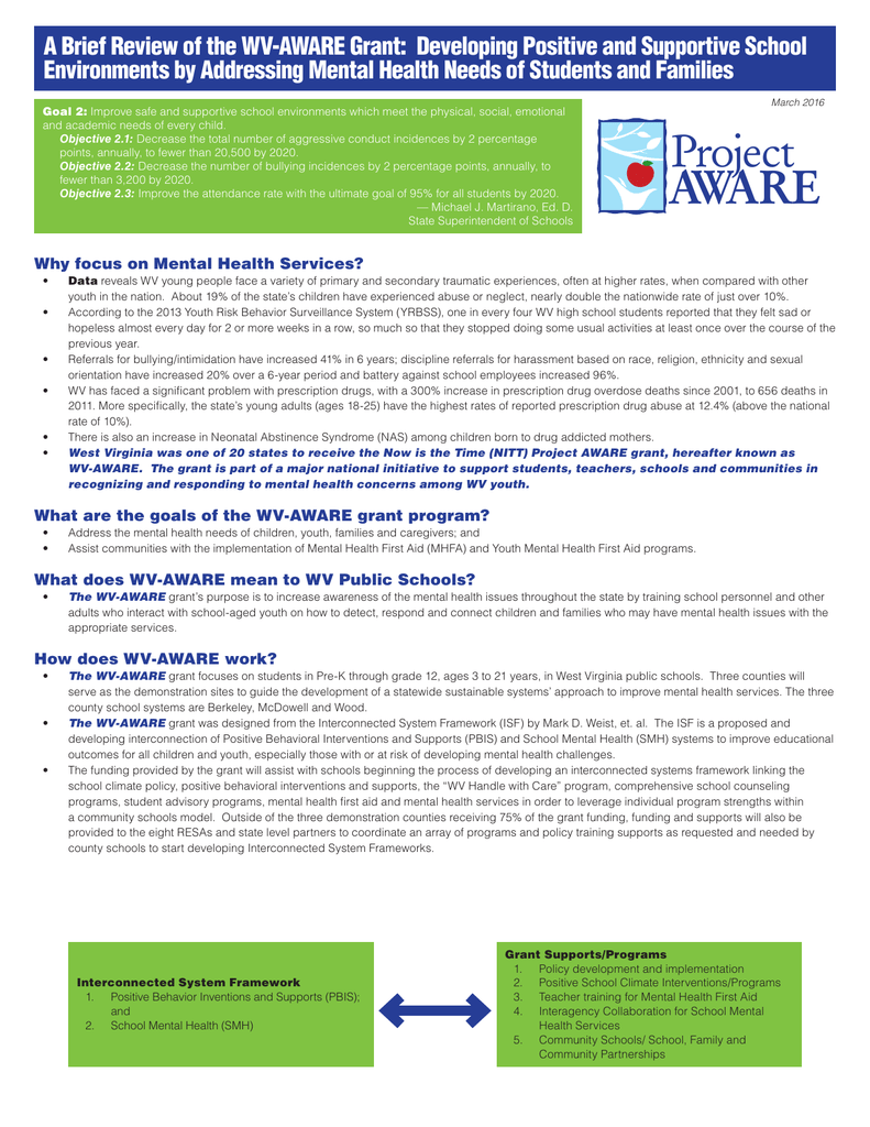 A Brief Review Of The Wv Aware Grant Developing Positive