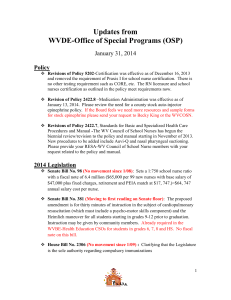 Updates from WVDE-Office of Special Programs (OSP) January 31, 2014