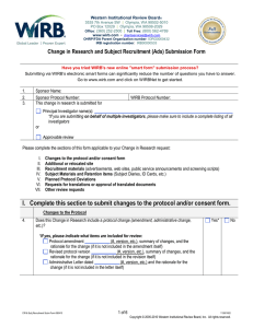Change in Research and Subject Recruitment (Ads) Submission Form