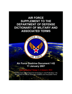 AIR FORCE SUPPLEMENT TO THE DEPARTMENT OF DEFENSE DICTIONARY OF MILITARY AND