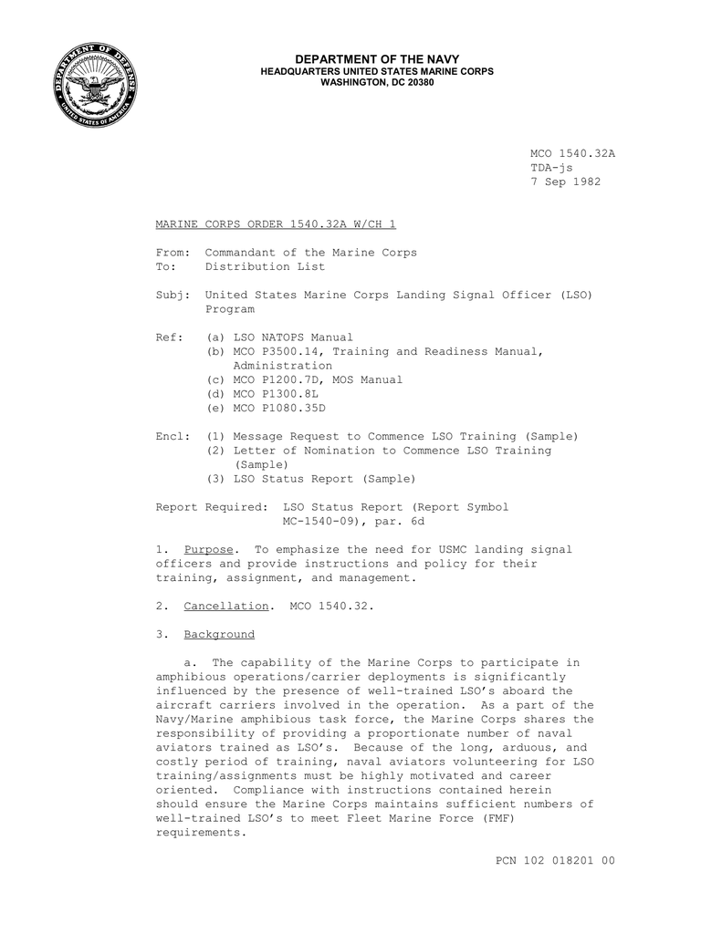 Mco 1540 32a Tda Js 7 Sep 1982 Marine Corps Order 1540 32a W Ch 1