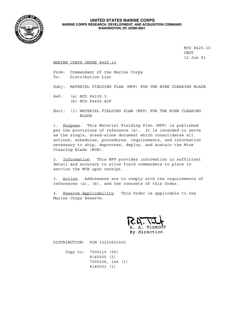 mco 8420.10 cbgt 12 jun 91 marine corps order 8420.10