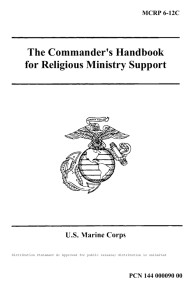 The Commander's Handbook for Religious Ministry Support U.S. Marine Corps MCRP 6-12C