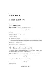 Resource F p-adic numbers F.1 Valuations