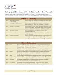 Pedagogical Shifts demanded by the Common Core State Standards