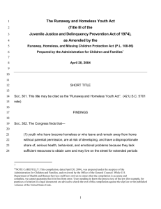 The Runaway and Homeless Youth Act (Title III of the