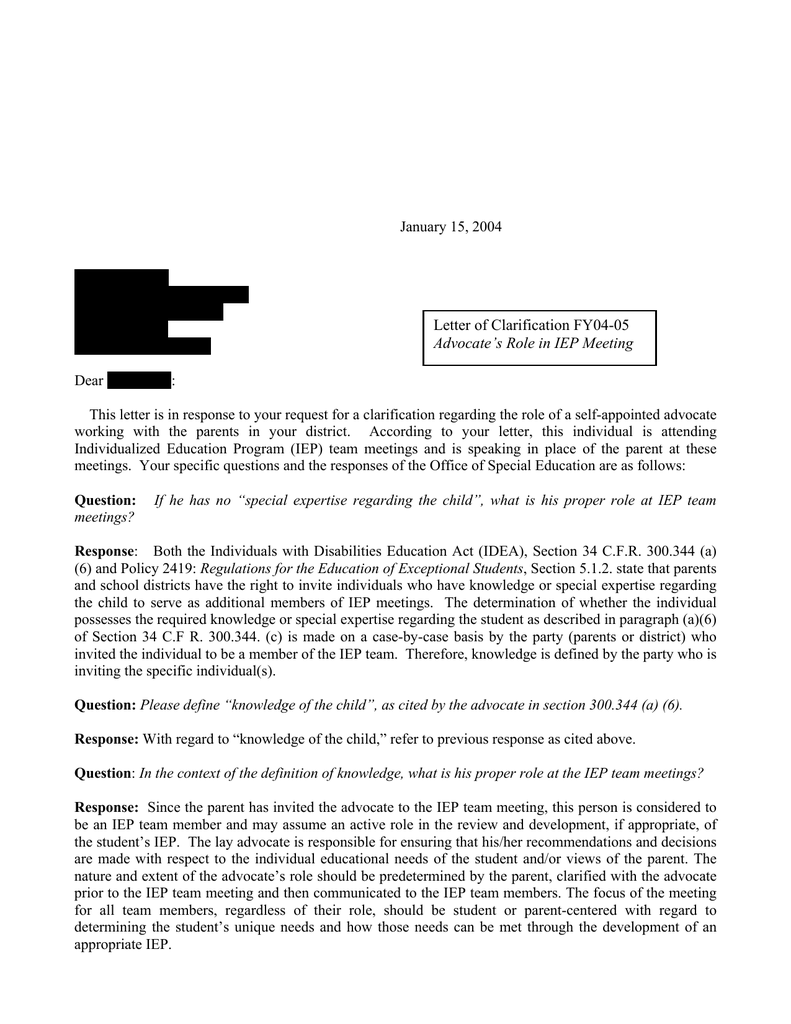 The Role Of Special Education Advocate >> Letter Of Clarification Fy04 05 Advocate S Role In Iep Meeting