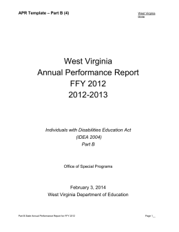 West Virginia Annual Performance Report FFY 2012