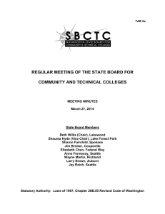 REGULAR MEETING OF THE STATE BOARD FOR  COMMUNITY AND TECHNICAL COLLEGES