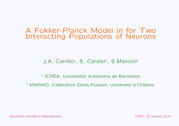 A Fokker-Planck Model in for Two Interacting Populations of Neurons J.A. Carrillo