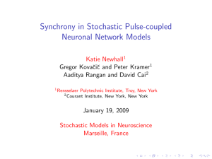 Synchrony in Stochastic Pulse-coupled Neuronal Network Models Katie Newhall Stochastic Models in Neuroscience