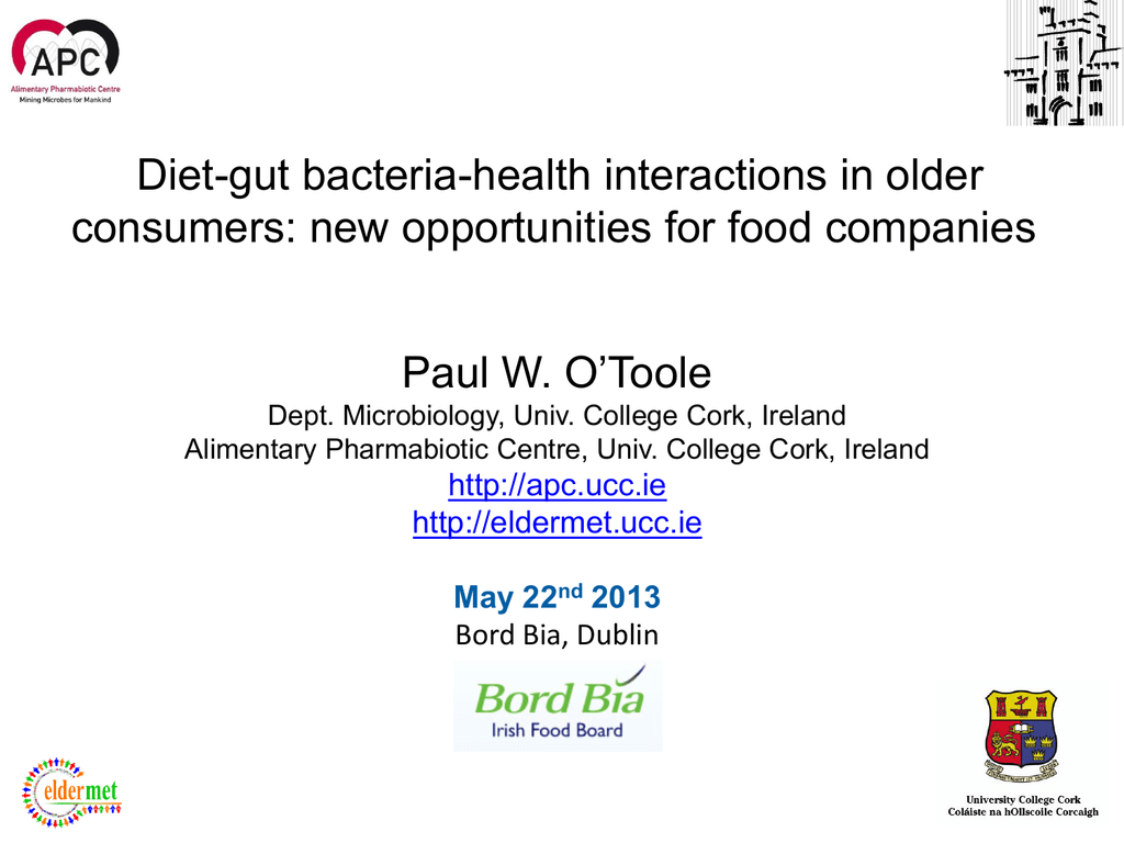 Diet Gut Bacteria Health Interactions In Older Consumers New Opportunities For Food Companies