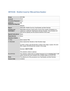 SM7034R	–	Waitlist	Count	by	YRQ	and	Item	Number