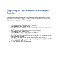 Lengthening the Check Number Field in DataExpress Procedures