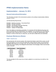 PPMS Implementation Notes Implementation – January 14, 2012 General Instructions/Information