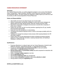 HUMAN RESOURCES INTERNSHIP Overview: