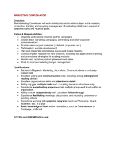 MARKETING COORDINATOR  Overview: