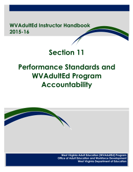 Section 11 Performance Standards and WVAdultEd Program Accountability