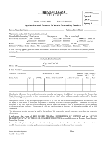 Application and Consent for Youth Counseling Services