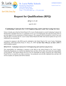 Request for Qualifications (RFQ) St. Lucie Public Schools RFQ # 15-30