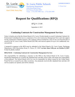 Request for Qualifications (RFQ) St. Lucie Public Schools RFQ # 13-06